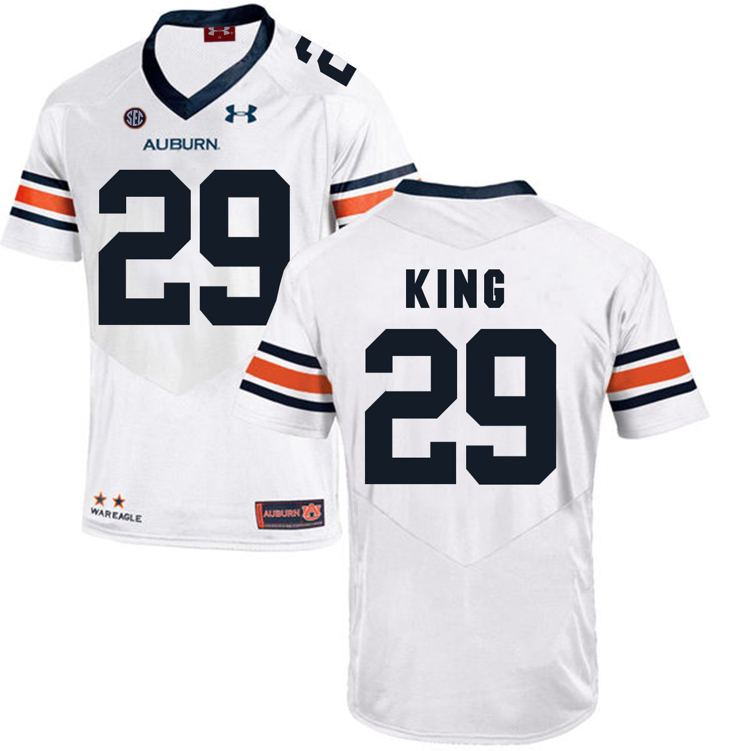 Auburn Tigers 29 Brandon King White College Football Jersey