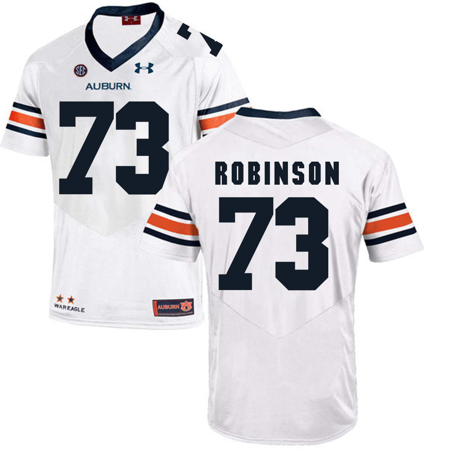 Auburn Tigers 73 Greg Robinson White College Football Jersey