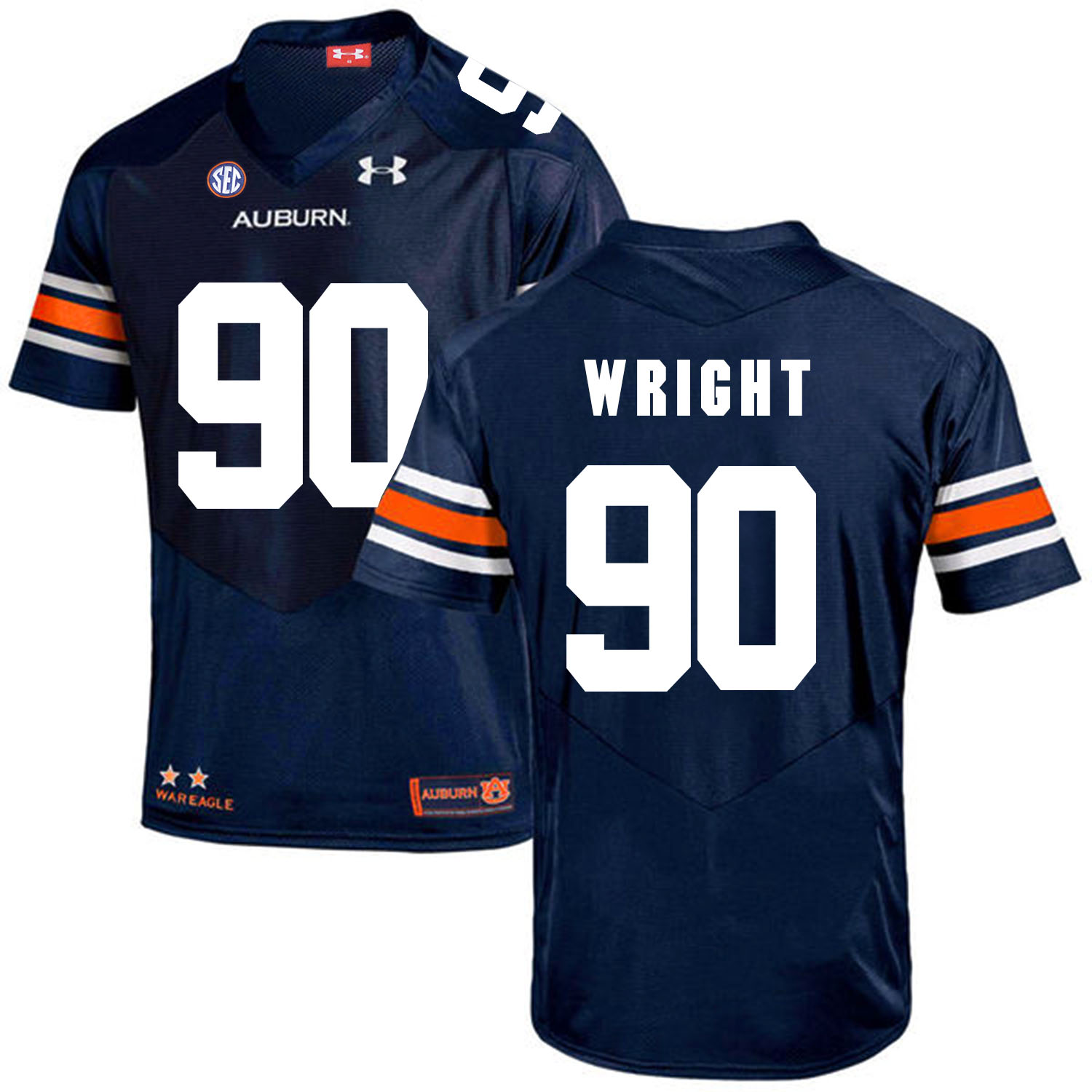 Auburn Tigers 90 Gabe Wright Navy College Football Jersey