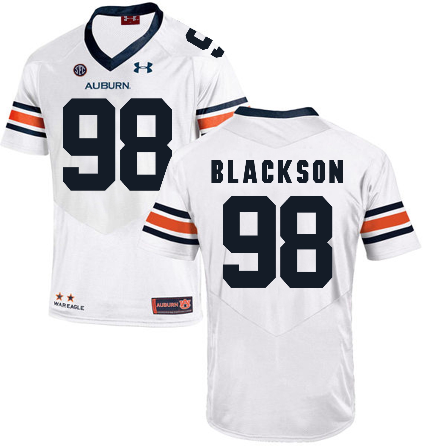 Auburn Tigers 98 Angelo Blackson White College Football Jersey