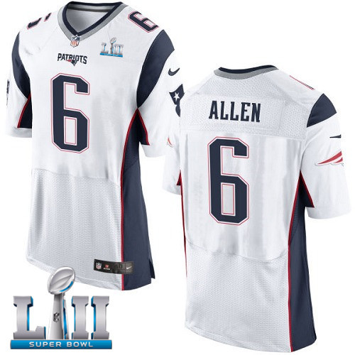 Nike Patriots 6 Ryan Allen White 2018 Super Bowl LII Elite Jersey