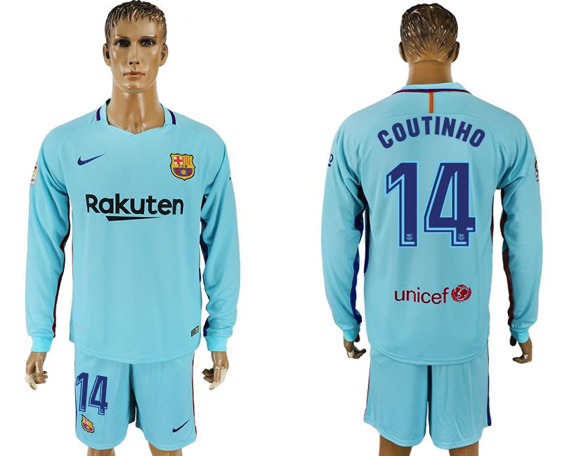 2017-18 Barcelona 14 COUTINHO Away Long Sleeve Soccer Jersey