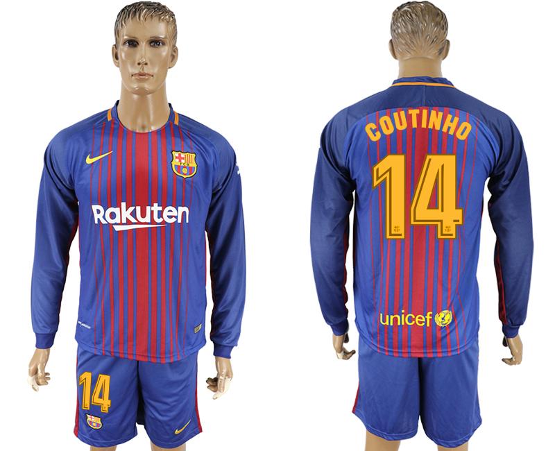 2017-18 Barcelona 14 COUTINHO Home Long Sleeve Soccer Jersey