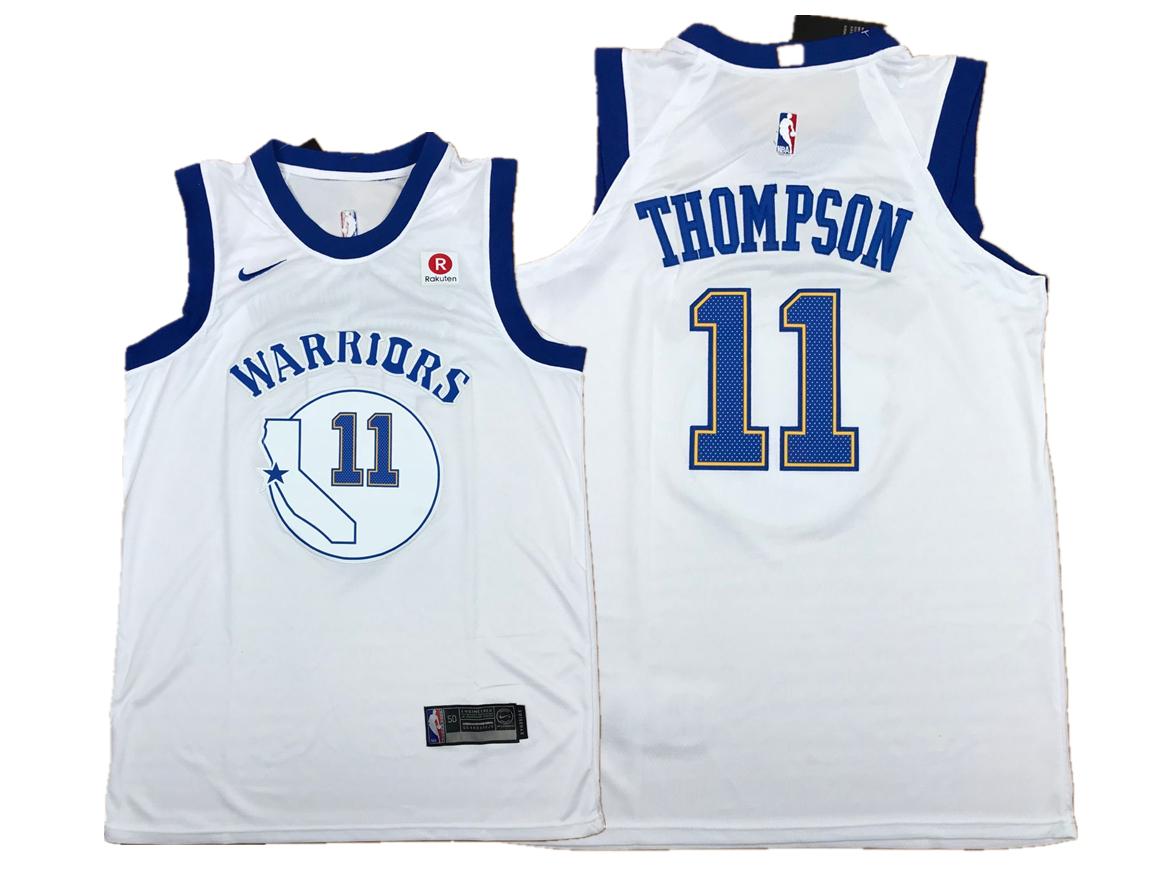Warriors 11 Klay Thompson White Fashion Current Player Hardwood Classics Nike Authentic Jersey