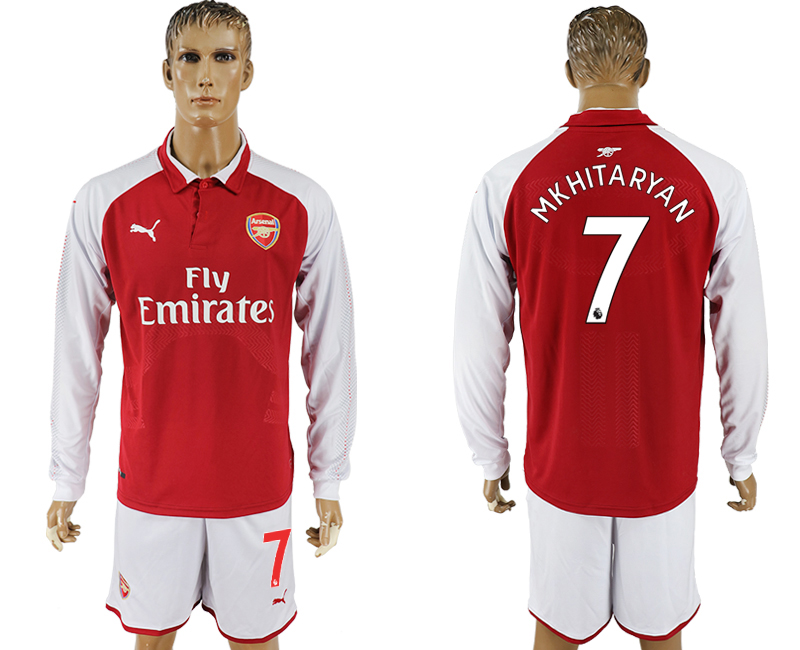 2017-18 Arsenal 7 MKHITARYAN Home Long Sleeve Soccer Jersey