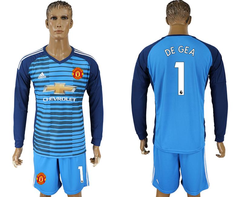 2017-18 Manchester United 1 DE GEA Lake Blue Goalkeeper Long Sleeve Soccer Jersey
