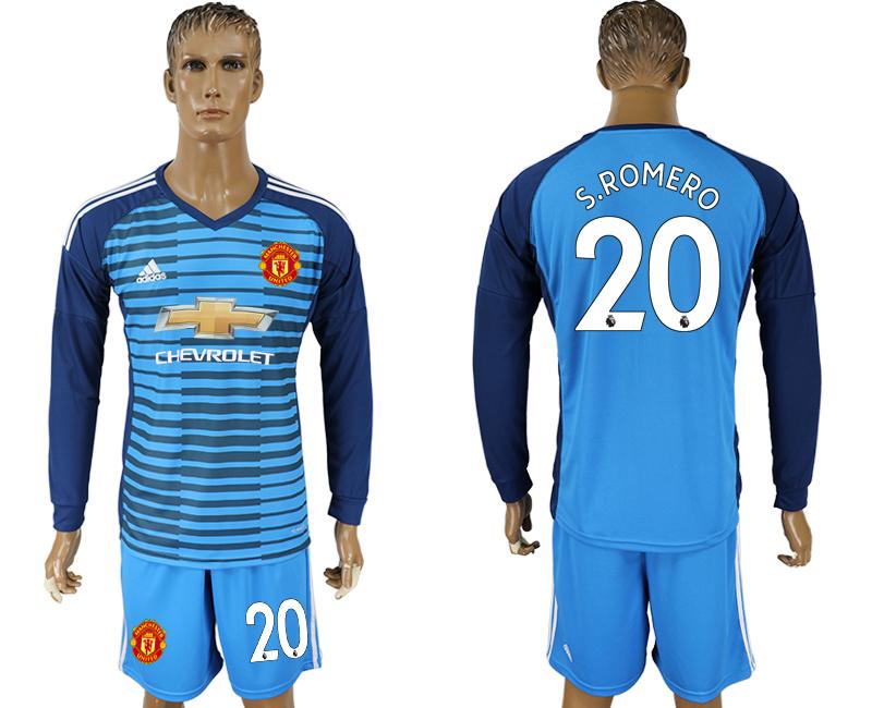 2017-18 Manchester United 20 S. RomaRO Lake Blue Goalkeeper Long Sleeve Soccer Jersey