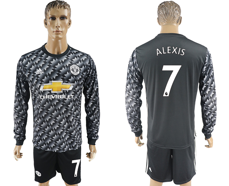 2017-18 Manchester United 7 ALEXIS Away Long Sleeve Soccer Jersey