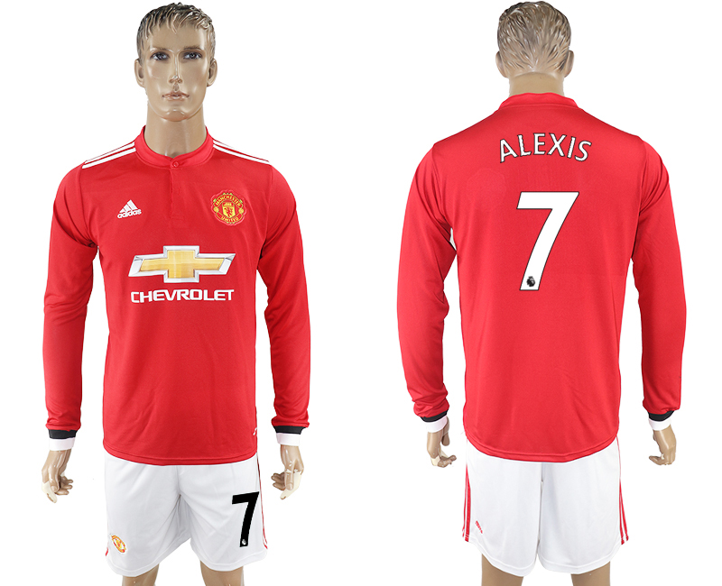 2017-18 Manchester United 7 ALEXIS Home Long Sleeve Soccer Jersey