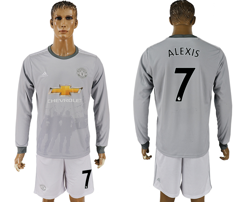 7342f0e4f 2017-18 Manchester United 7 ALEXIS Third Away Long Sleeve Soccer Jersey