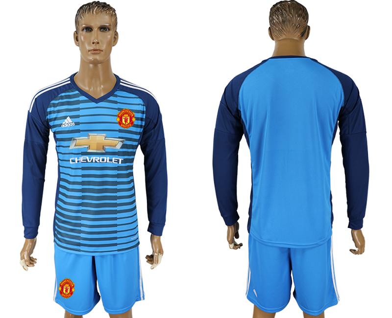 2017-18 Manchester United Lake Blue Goalkeeper Long Sleeve Soccer Jersey