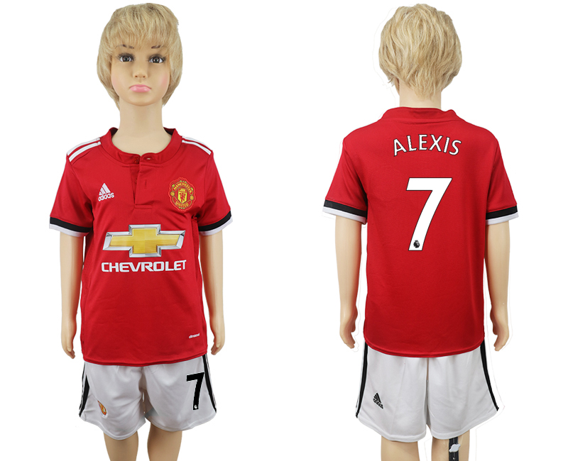 2017-18 Manchester United 7 ALEXIS Home Youth Soccer Jersey