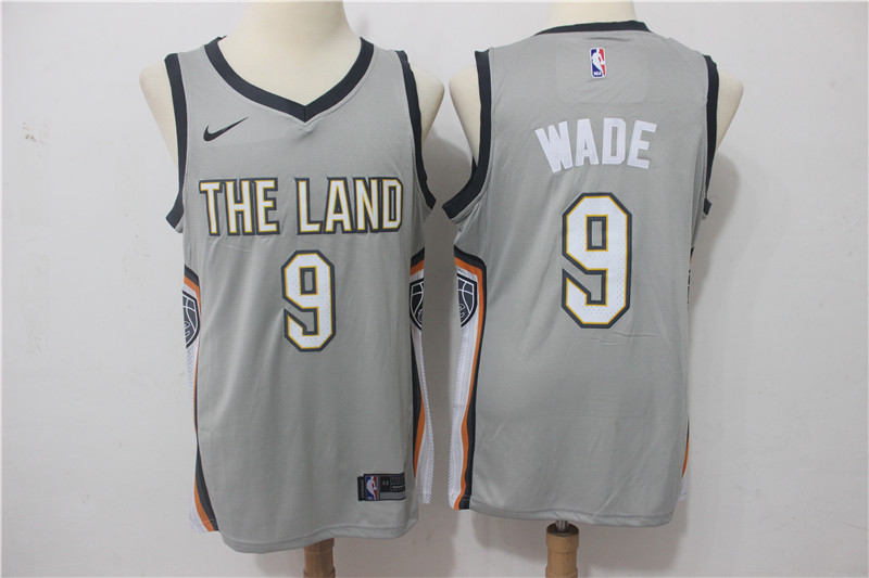 Cavaliers 9 Dwyane Wade Gray Nike City Edition Swingman Jersey