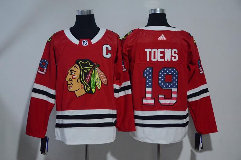 Blackhawks 19 Jonathan Toews Red USA Flag Adidas Jersey