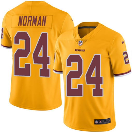New Nike Redskins 24 Josh Norman Gold Color Rush Limited