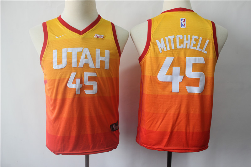 Jazz 45 Donovan Mitchell Multi Color City Edition Youth Nike Swingman Jersey