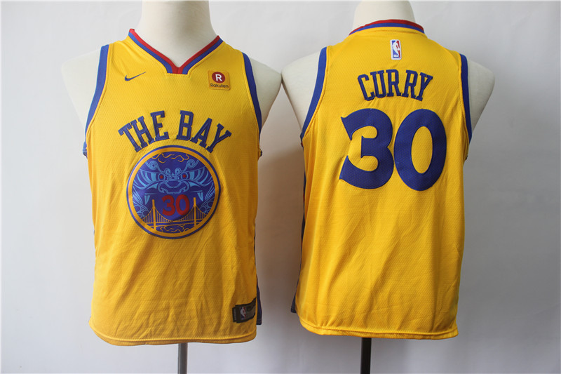Warriors 30 Stephen Curry Gold City Edition Youth Nike Swingman Jersey