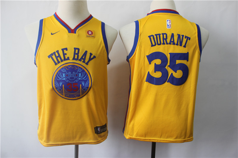 Warriors 35 Kevin Durant Gold City Edition Youth Nike Swingman Jersey