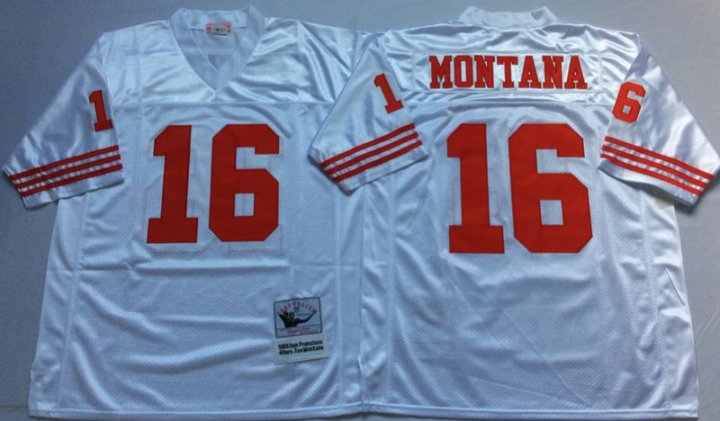 49ers 16 Joe Montana White M&N Throwback Jersey
