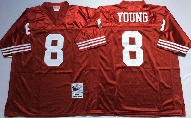 49ers 8 Steve Young Red M&N Throwback Jersey