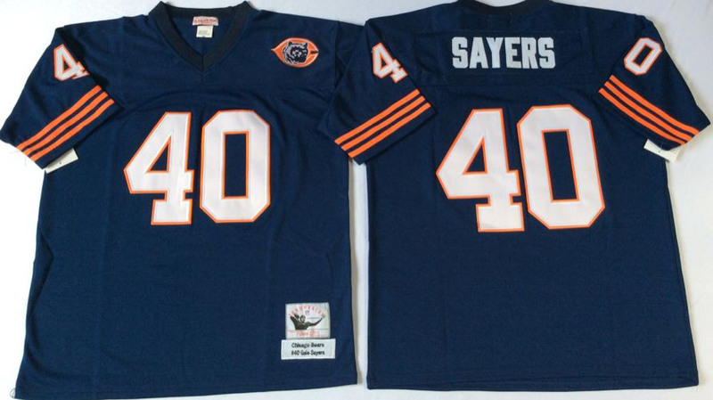 Bears 40 Gale Sayers Navy M&N Throwback Jersey
