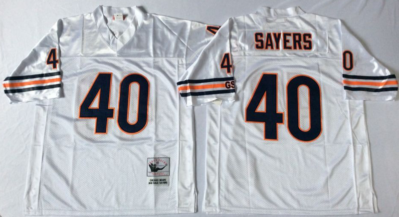 Bears 40 Gale Sayers White M&N Road Throwback Jersey
