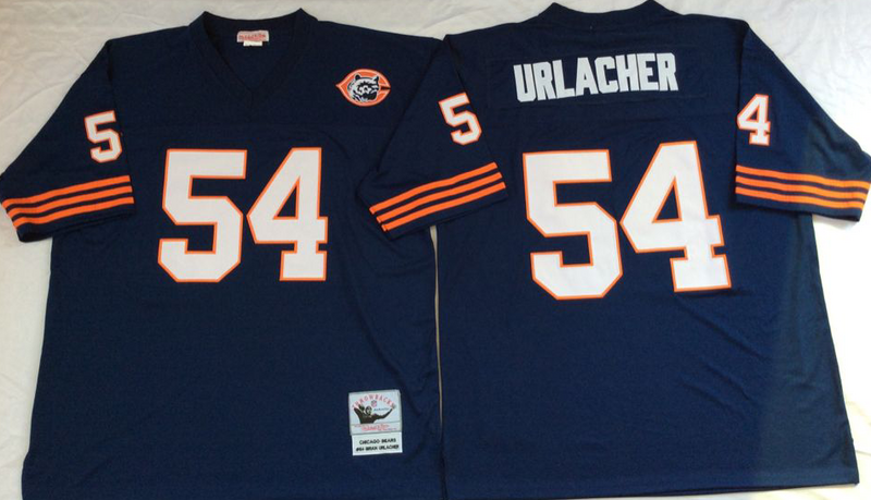 Bears 54 Brian Urlacher Navy M&N Throwback Jersey