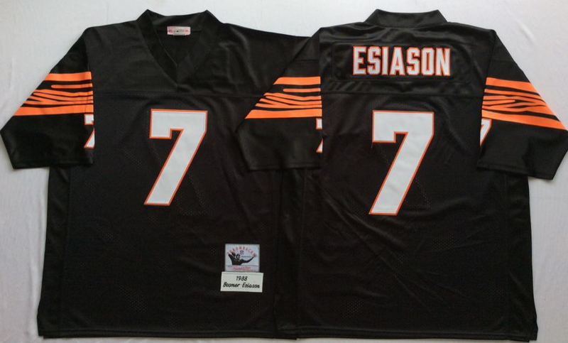 Bengals 7 Boomer Esiason Black M&N Throwback Jersey