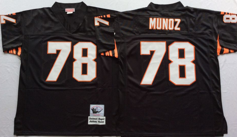 Bengals 78 Anthony Munoz Black M&N Throwback Jersey