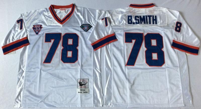Bills 78 Bruce Smith White M&N Throwback Jersey