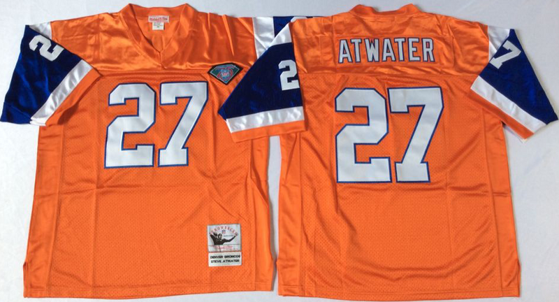 Broncos 27 Steve Atwater Orange M&N Throwback Jersey