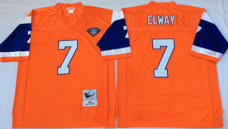 Broncos 7 John Elway Orange M&N Throwback Jersey