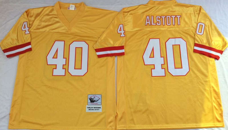 Buccaneers 40 Mike Alstott Yellow M&N Throwback Jersey