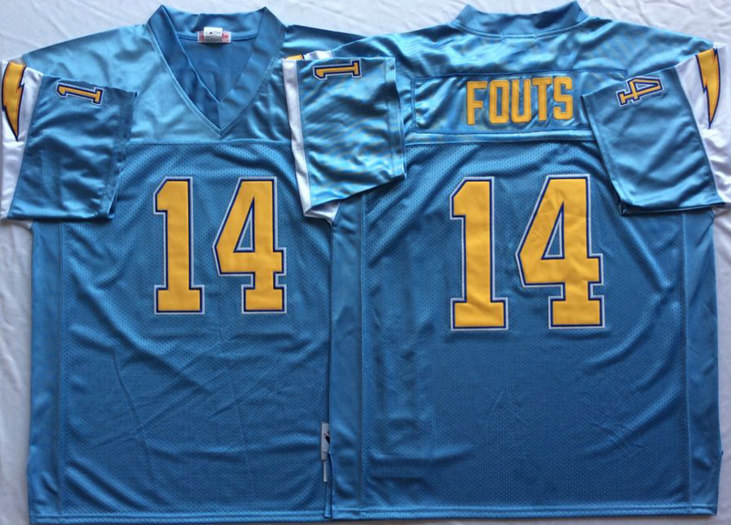Chargers 14 Dan Fouts Light Blue M&N Throwback Jersey