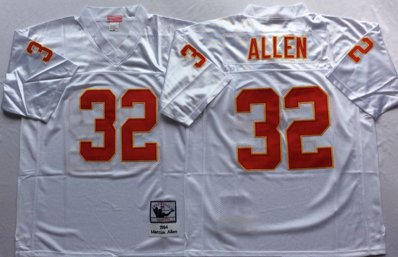 Chiefs 32 Marcus Allen White M&N Throwback Jersey