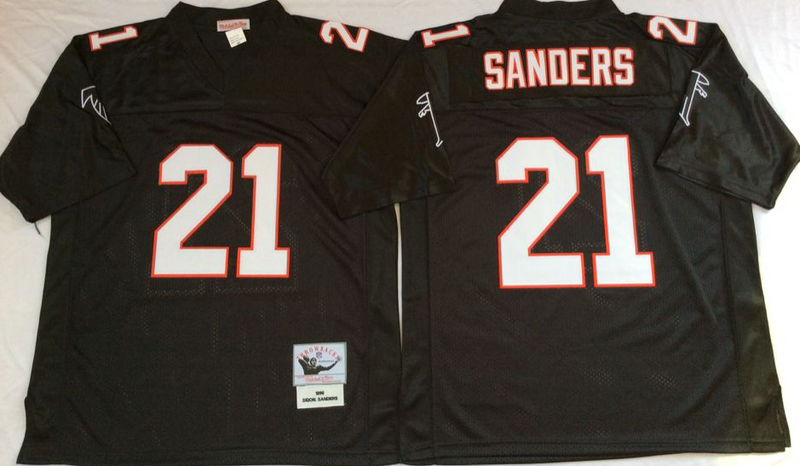 Falcons 21 Deion Sanders Black M&N Throwback Jersey