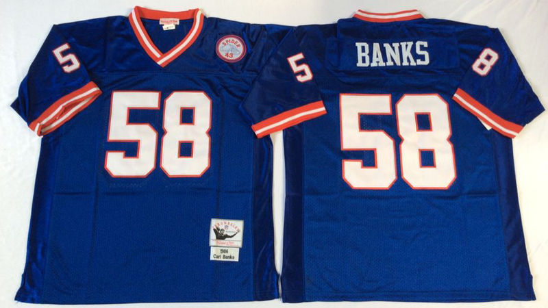 Giants 58 Carl Banks Blue M&N Throwback Jersey