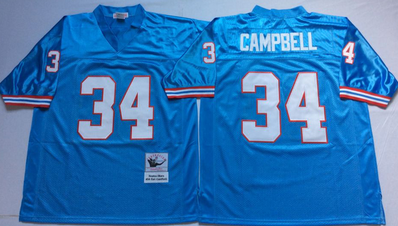 Oilers 34 Earl Campbell Blue M&N Throwback Jersey