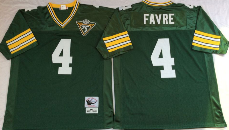 Packers 4 Brett Favre Green M&N Throwback Jersey