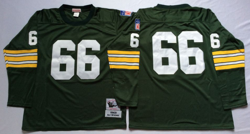Packers 66 Ray Nitschke Green Long Sleeve M&N Throwback Jersey