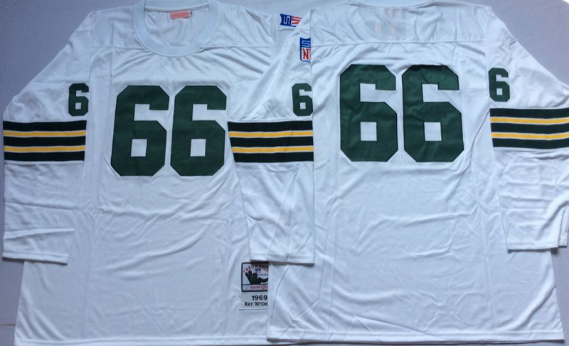 Packers 66 Ray Nitschke White Long Sleeve M&N Throwback Jersey