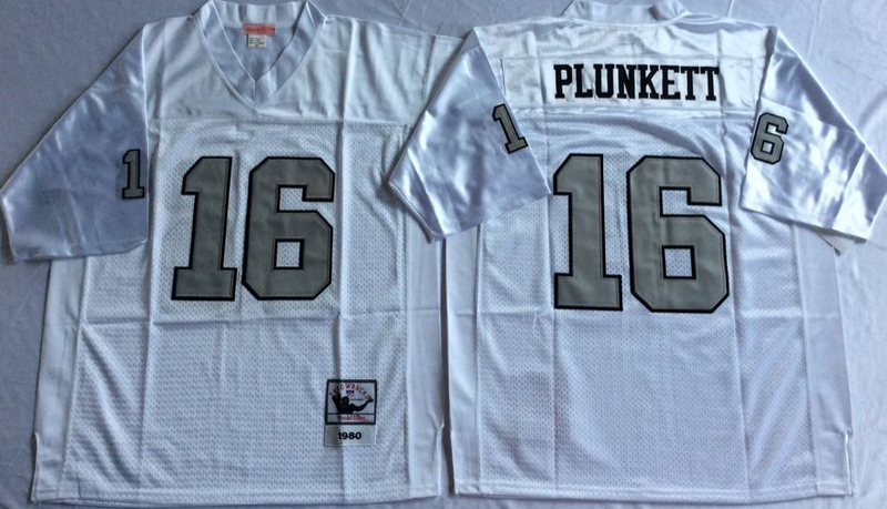 Raiders 16 Jim Plunkett White Silver M&N Throwback Jersey