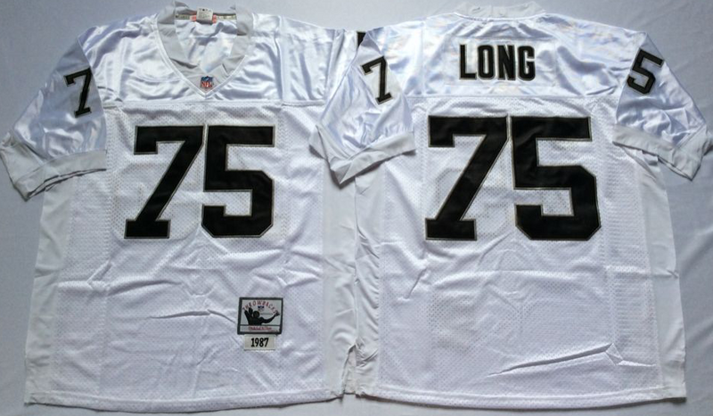 Raiders 75 Howie Long White M&N Throwback Jersey