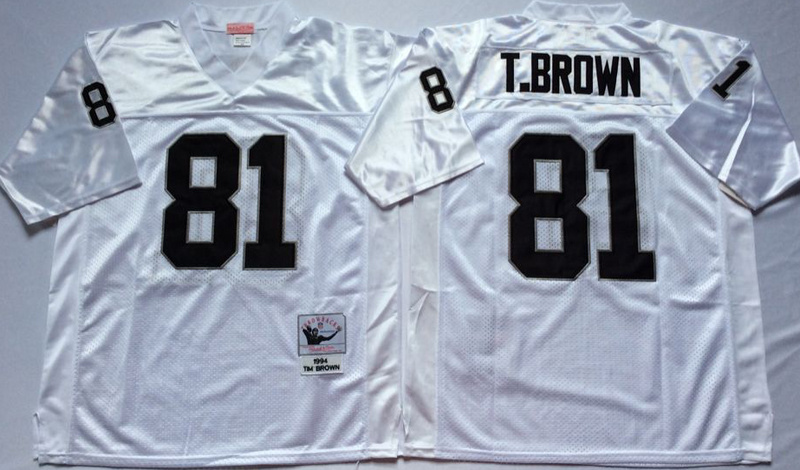 Raiders 81 Tim Brown White M&N Throwback Jersey