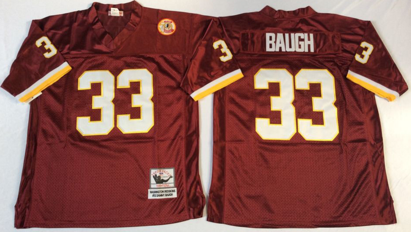 Redskins 33 Sammy Baugh Red M&N Throwback Jersey