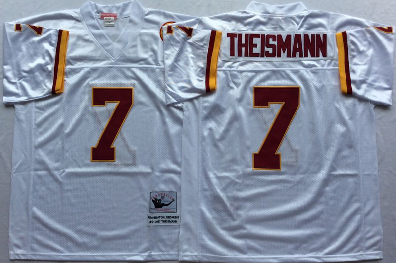 Redskins 7 Joe Theismann White M&N Throwback Jersey