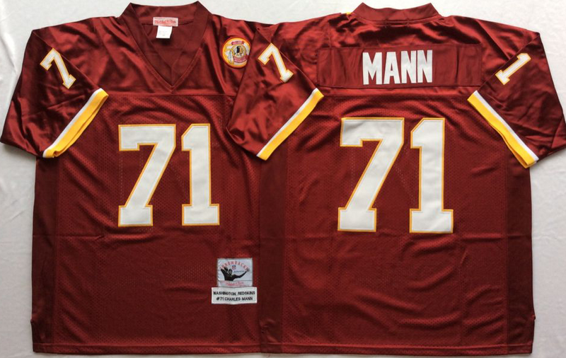 Redskins 71 Charles Mann Red M&N Throwback Jersey