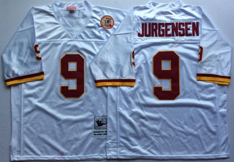 Redskins 9 Sonny Jurgensen White M&N Throwback Jersey