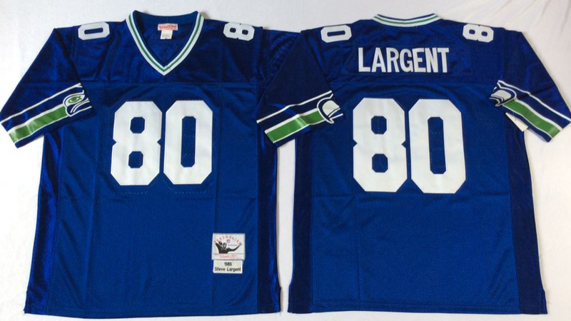 Seahawks 80 Steve Largent Blue M&N Throwback Jersey