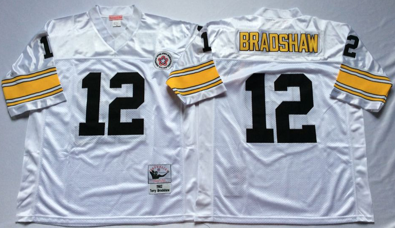 Steelers 12 Terry Bradshaw White M&N Throwback Jersey